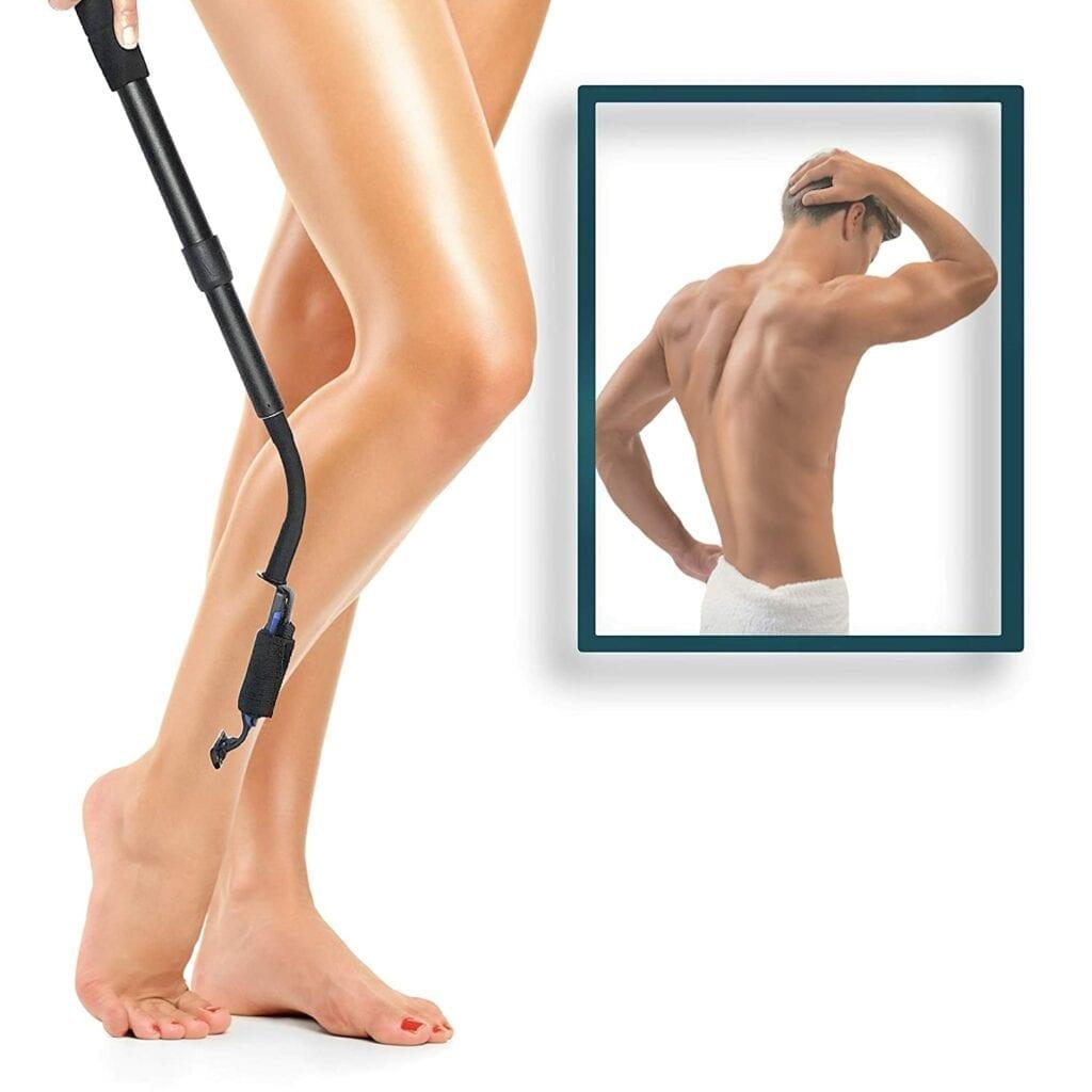 man's back women leg extension handle smooth