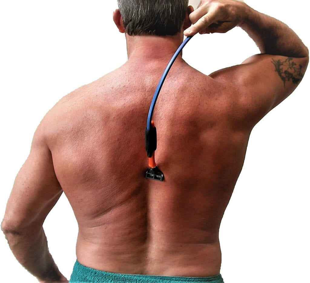 man shaving his back with ultraflex