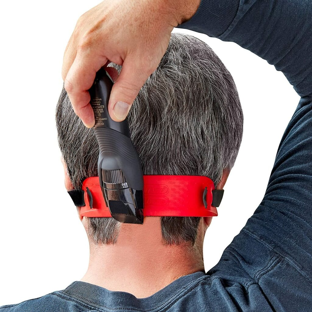 man using shears with neck hair guide