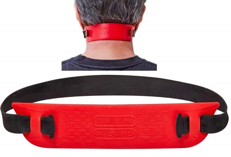 man wearing neck hair guide