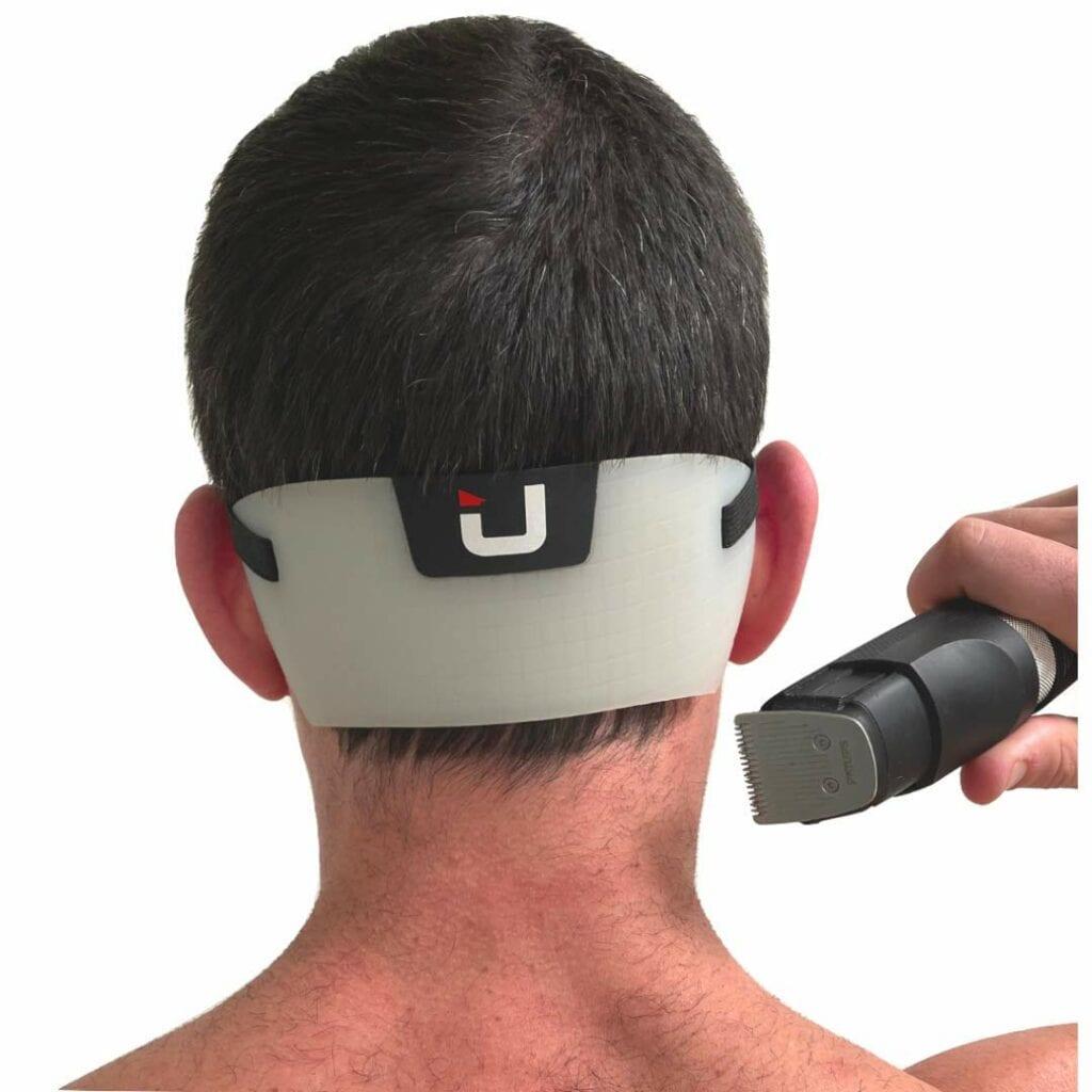 man using edgup 2.0 on neck